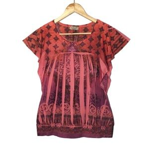 One World Red Ruffled Boho Print Babydoll Blouse